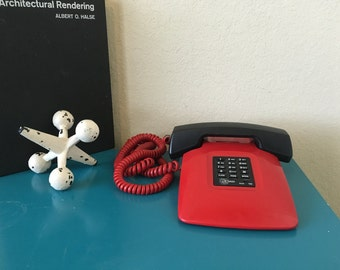 Vintage Red Push Button Telephone US Tron Modern Black Corded