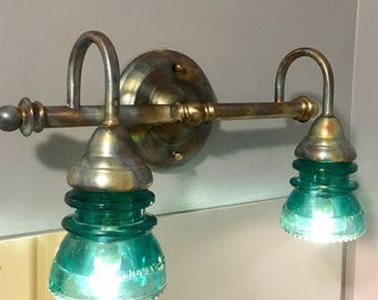 Beautiful Bathroom Vanity Fixture with a Fired Blue Steel Finish Made with Vintage 1940s Hemingray Blue/Green Glass Insulators