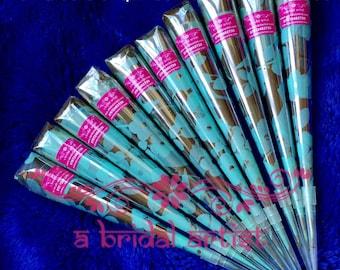 Henna Tattoo Body Art - EUCALYPTUS Fresh Henna Cone - 10 x 20g Fresh Natural Bridal Quality Henna (Mehndi) Cones