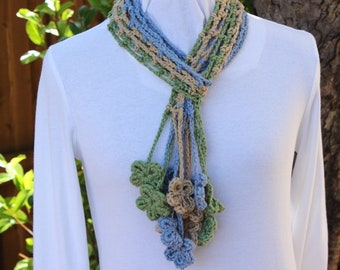 Floral Crochet Scarf, Crocheted Scarf with Flower Fringe, Light Blue Scarf, Scarf to Wear with Jeans, Lightweight Scarves, Gift for Her