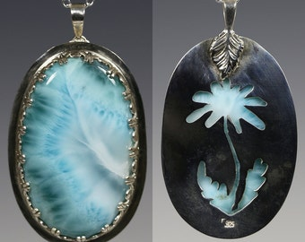 Reversible Larimar Pendant. Sterling Silver Necklace. Genuine Gemstone. Flower Cut Out Back. Saw Pierced. Aqua Blue Pendant. f15p003