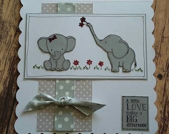 Elephant card, handmade card, elephants, love,greetings cards, handmade, anniversary card, anniversary, special occasion , special card