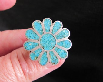 Vintage Turquoise Inlay Flower Ring Size 5 1/2