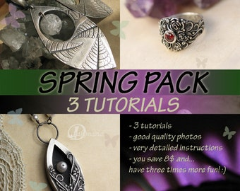 3 TUTORIALS,  VALUE Pack ,metal clay, metal clay tutorial, art clay, pmc, jewelry tutorial, art clay tutorial, silver jewelry tutorial