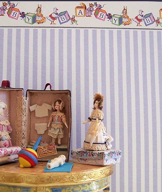 Dollhouse Miniature Nursery Wallpaper, Mon Chou, Scale One Inch