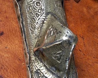 Old Rare Brass/Silver Gri Gri Tscherot AMULET box, Mauretanie