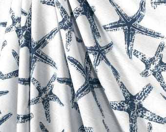 Navy Blue Curtain Panels Sea Shell Starfish Nautical Window Treatments Valance Coastal Living Home Decor Blue Curtains