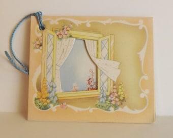 Vintage bridge tally card spring flowers the open window by A-meri-card booklet style scorecard ephemera
