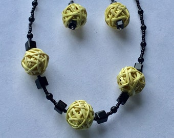 Chunky yellow bead and black necklace and earring set