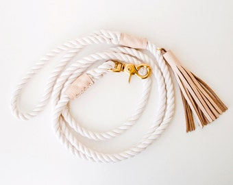 Rope Dog Leash - Blush Leather - Pet Lead