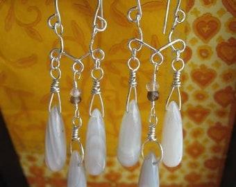 Line Quartz Chandelier Earrings