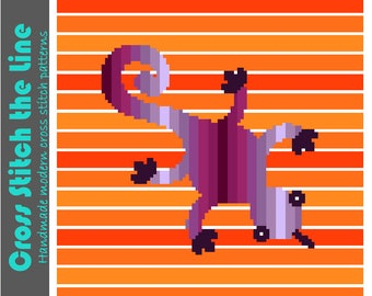 Contemporary cross stitch pattern ideal for children's rooms. Modern embroidery chart. Minimalist design. 'Dizzy Lizzie the lizard'