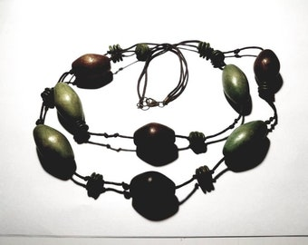 Vintage Hemp Cord 2 Layers with Brown and Green Large Wood Beads Necklace