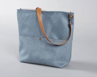Blue Canvas Tote Bag, Bucket Bag, Blue Bag, Hobo Tote, Casual Tote Bag, Handbag, Leather strap, Blue bucket bag, Lagut, Weekend Bag, bags