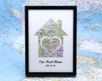 Our First Home Housewarming Gift Papercut Custom Map Established Sign Engagement Gifts for Couple 1 Year Anniversary Gift for Him Atlas