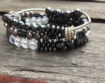 Beaded Stacked Hematite Bracelet Boho Style/Beaded Stretch Bracelet with Bling/Shabby Chic/Boho Bracelet/Urban Modern Style Bracelet/Black