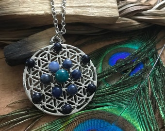 Flower of Life Necklace // Blue Goldstone, Sodalite, and Blue Apatite Crystal Grid Necklace // Sacred Geometry Necklace for Throat Chakra