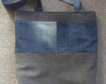 Reusable grocery tote bag, recycled denim bag, tote denim bag, shoulder denim bag, jeans bag, blue denim bag, upcycled, go green