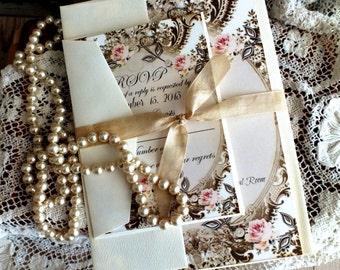 Romantic Vintage Wedding Invitation Suite SAMPLE by avintageobsession on etsy