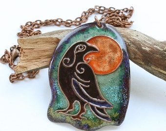 Raven necklace bird jewelry pendant raven black crow necklace pendant
