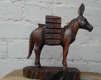 Large Ironwood Donkey / Mule Hand Carving