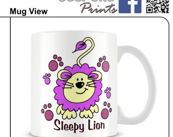 lion mug animal sleepy mug quirky mug