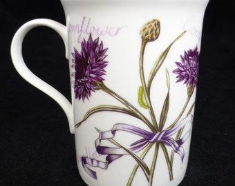 Laura Ashley Purple Cornflower Floral Fine Bone China Coffee / Tea Mug - Made in England - Vintage and Collectible