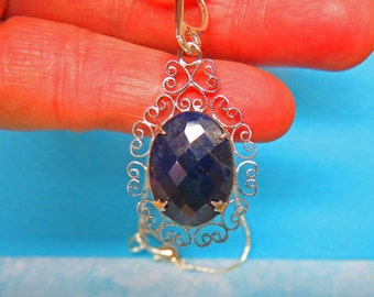 Sapphire Necklace - Sterling Silver & AAA Natural Blue Sapphire Necklace - 10 1/4-Inch Long Necklace