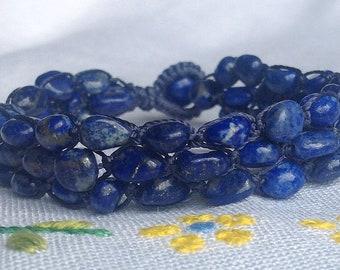 Natural Lapis Lazuli Knotted Bracelet