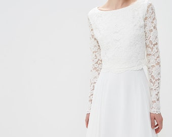 Lace top wedding dress / Beach wedding gown / Crop top wedding dress / Wedding Dress Separates / Bridal Separates Top / Wedding Crop Top