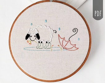 Buttercup Wears Wellies Sheep PDF Hand Embroidery Pattern