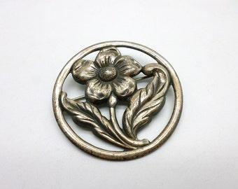 Vintage Sterling Silver Flower Pin Brooch