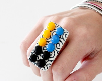 Unique Jewelry, Cocktail Ring Glass Ring Ceramic Ring,  big ring, retro ring, statement ring, handmade ring by Studioleanne New Year Fashion
