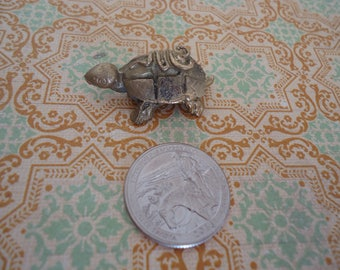 "Miniature Brass Turtle, Detailed, 1 1/2"" Long, Brass Collectible Miniature"