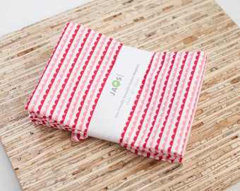 Large Cloth Napkins - Set of 4 - (N4530) - Scallop Bunting Red Pink Modern Reusable Fabric Napkins
