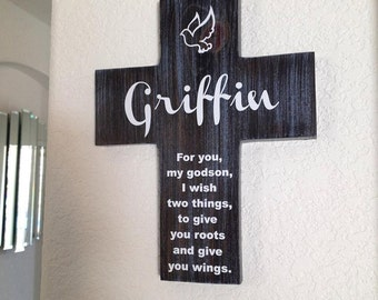 Godson Cross Personalized with his name on Pine Wood w/ Dove (Roots & Wings) Baptism, Easter, Birthday, First communion, gift for boy Blue