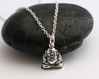 Sterling Silver Buddha Necklace , spiritual jewelry , Silver Bhuddhist Necklace , Buddha Charm Necklace , Buddha Layering Necklace ,