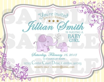 Sweet Elephant Baby Shower Invitation (Girl)