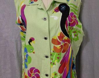 Reclaimed Colorful Parrot Blouse Painted Top Sz M