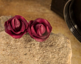 Red rose earrings, Valentines gift, burgundy, dark red, marsala earrings, minimalist, tiny earrings, polymer clay, romantic earrings