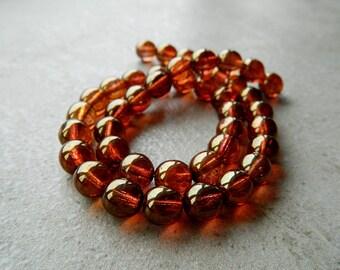 8mm Czech Glass Druk Beads, Glass Round Beads, Transparent Glass & Gold kissed Rosaline Luster (25pcs) 1.1.8
