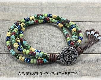 Beaded Wrap Bracelet/ Seed Bead Bracelet/ Sunflower Wrap Bracelet/ Boho Wrap Bracelet/ Gift For Her/ Bohemian Bracelet/ Multicolor Bracelet.
