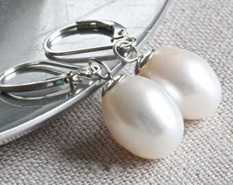 Large Pearl Earrings, Pearl Drop Earrings, Real Pearl Earrings, White Pearl Earrings, Leverback Earrings, Sterling Silver Jewelry for Her