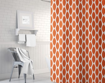 Coral Shower Curtain, Bathroom Decor for Women, Ikat Bath Curtain, Girls Bath Decor, Fabric Shower Curtain, Standard or Extra Long