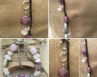 Rose Quartz & Pink Tourmaline Jewellery Set, Gemstone Jewellery Set, Pink Gemstone Jewellery, Scottish Jewellery Designer, K Brown Jewellery