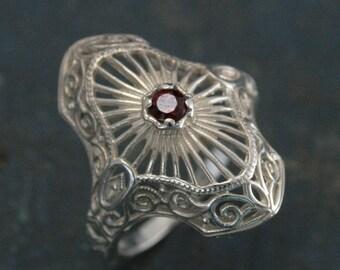 Elizabeth--Ruby Filigree Ring--Vintage Style Ring--Antique Style Ring--Silver Filigree Ring--Birthstone Ring--Victorian Ring--Ruby Ring