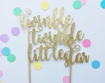 Twinkle twinkle little star glitter cake topper