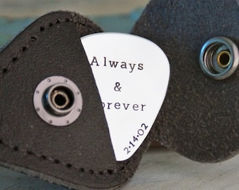 Personalized Aluminum Guitar Pick Key Chain / Hand Stamped Guitar Pick Keychain with leather case / Anniversary Gift