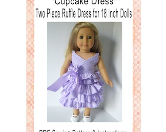 Cupcake Dress 18 Inch Doll Clothing PDF Sewing Pattern Instant Digital Download