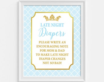 Late Night Diapers Shower Game Sign, Prince Light Blue & Gold Shower Sign, Crown, Baby Boy, INSTANT PRINTABLE